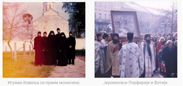 Igumen Porfýrij v monastieri Kovilj s prvými mníchmi (vľavo) a s jeromníchom Fótiom (vpravo).