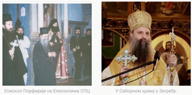 V mantiji s čiernohorským metropolitom Amfilochijom a ďalšími biskupmi (vľavo) a v katedrálnom chráme v Záhrebe (vpravo).
